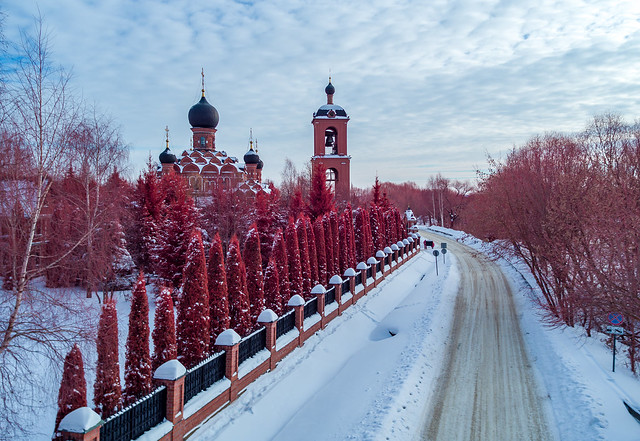 Church of Our Lady of Kazan in Markovo. infrared image.