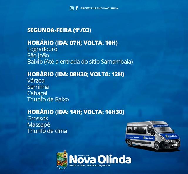 Nova Olinda cria sistema de transporte público gratuito com rotas intermunicipais
