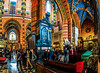 Multiphoto panorama of interior artwork inside the St. Mary's Basilica (Bazylika Mariacka) at the Main Square in Old Town Krakow, Poland.  022-Pano-Edit-Edita