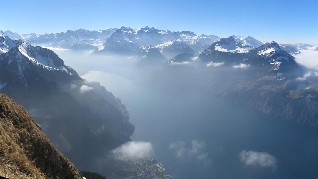 Lake Lucerne from Fronalpstock, Swiss Alps