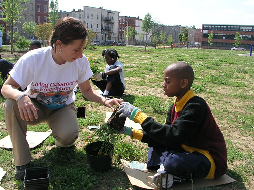 Photo of young people planting flowers in urban area