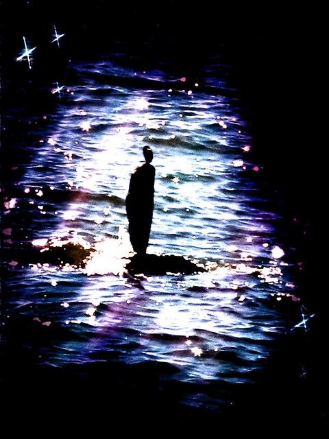 rock sculpture in the  moonlight