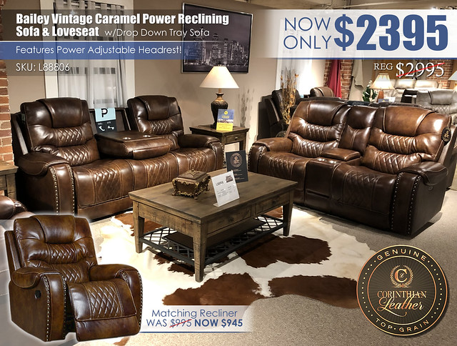 Bailey Vintage Caramel Leather Power Reclining Set_L88806_2021_Updated