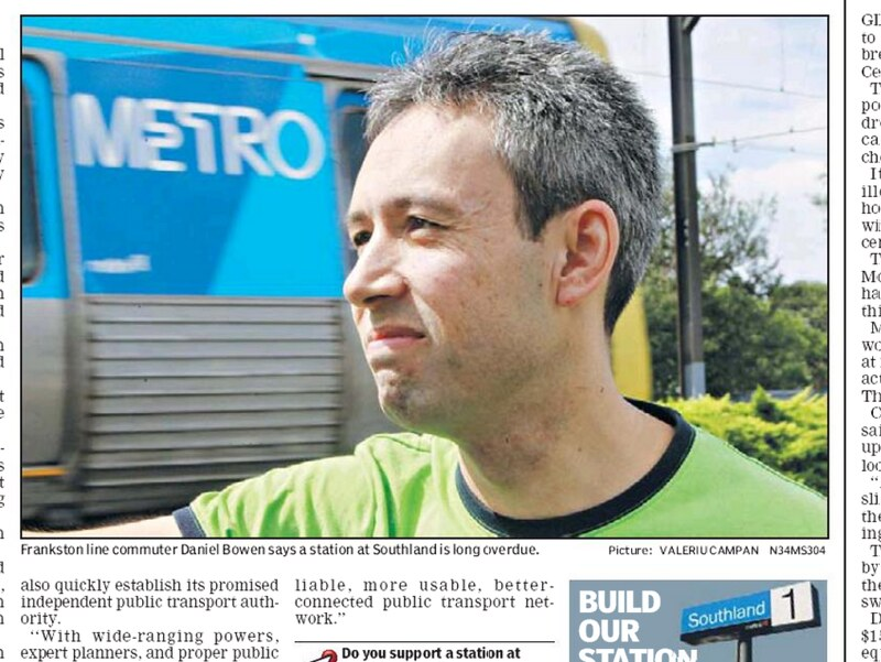 Moorabbin Leader article calling for Southland Station, February 2011