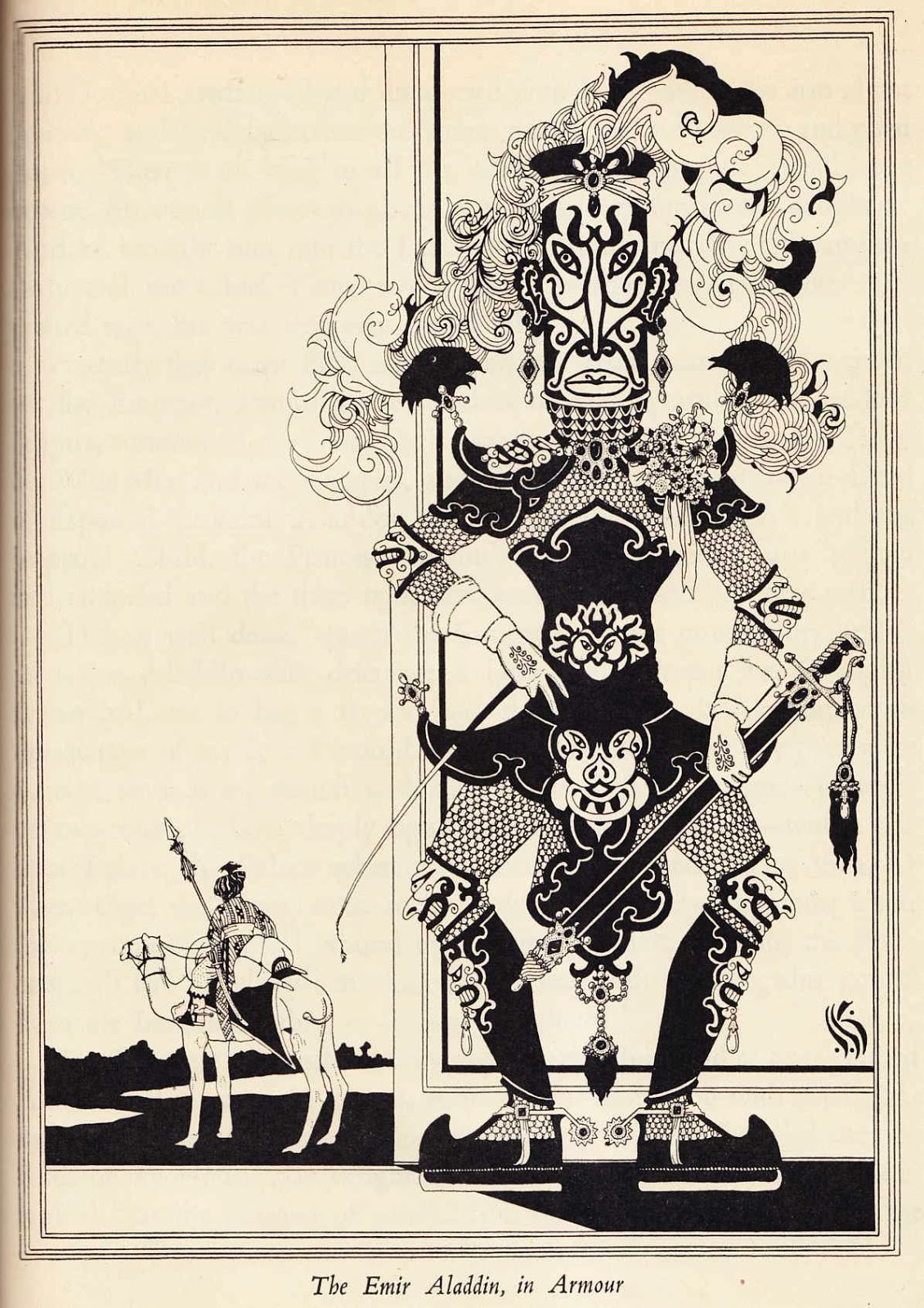 """John Kettelwell - The Emir Aladdin, in Armour - Illustration from """"The Story of Aladdin and the Wonderful Lamp,"""" 1928"""