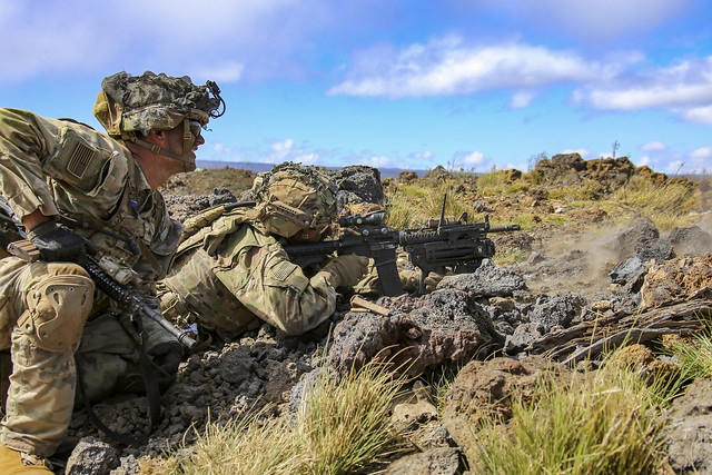 Soldiers conduct a squad live-fire exercise at Pohakuloa Training Area, Hawaii