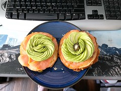 Wifeu2019s Late lunch of smoked salmon and avocado bagel. ud83eudd51