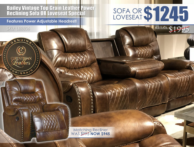 Bailey Vintage Caramel Leather Power Reclining Sofa OR Love_L88806_2021 New