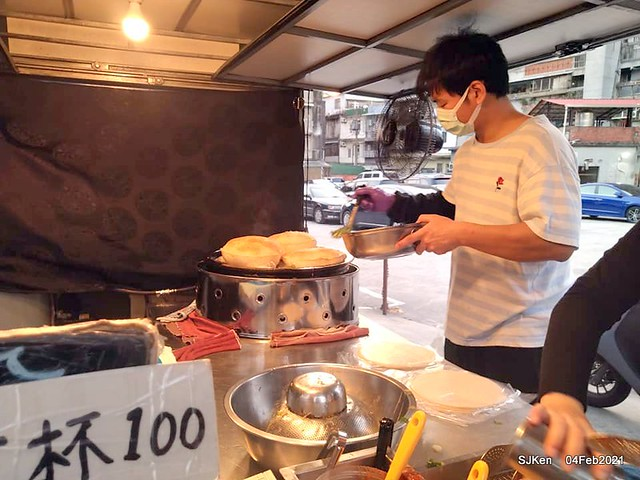 「北投三星蔥油餅」(Beitou Scallion pancakes booth),Taipei, Taiwan, Feb 4, 2021