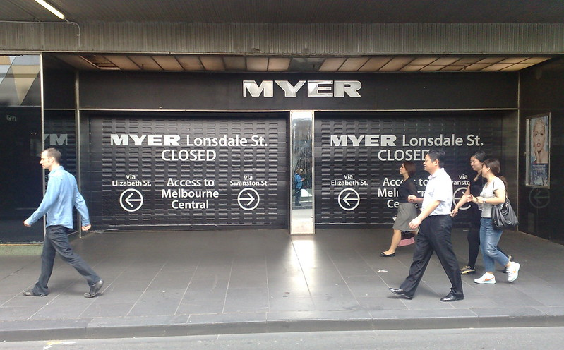 Myer Lonsdale Street entrance closed, February 2011