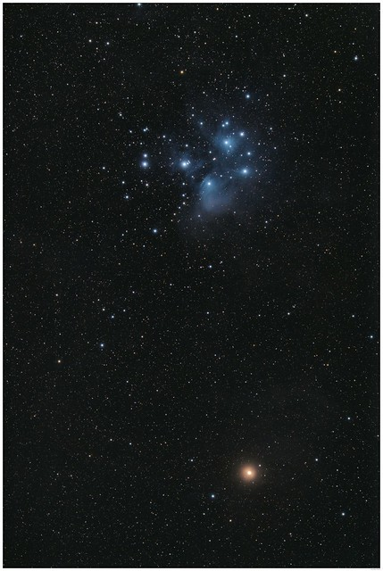 Pleiades (Messier 45) and the planet Mars