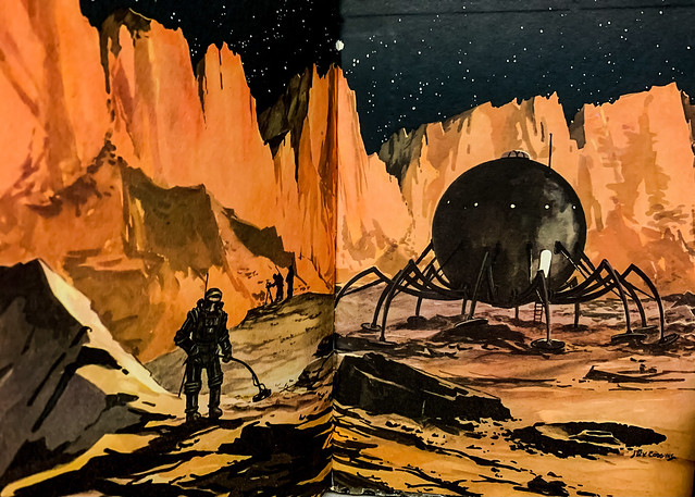 """Endpapers: """"By Space Ship to the Moon"""" by Jack Coggins and Fletcher Pratt. New York: Random House, (1952).  Illustrated by Jack Coggins."""