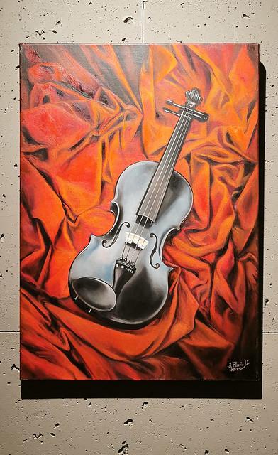 Pintura Pequeño Violin Juan Alberto Diaz exposicion ambito cultural Corte Ingles Las Palmas De Gran Canaria