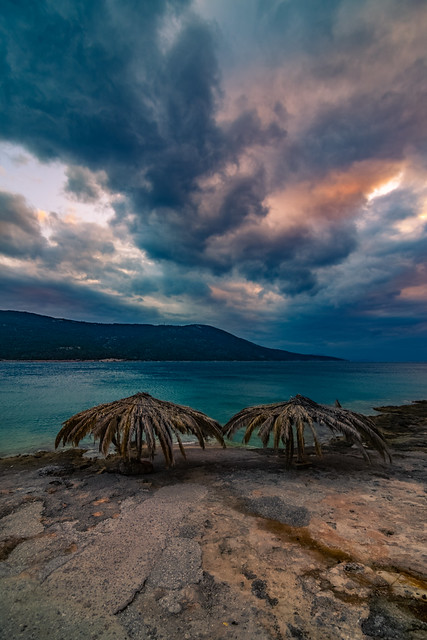 A dramatic sky by the sea