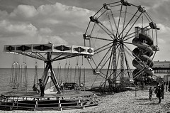 The little funfair on Cleethorpes beach monochrome