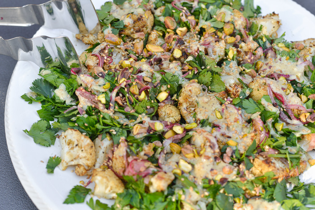 Grilled Cauliflower Salad with Tahini Dressing