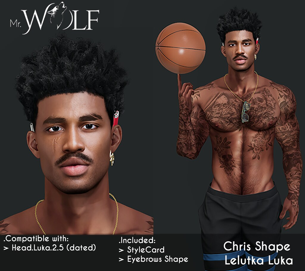 NEW!!  Mr. Wolf - Chris Shape For Lelutka Luka Bento Head (dated)