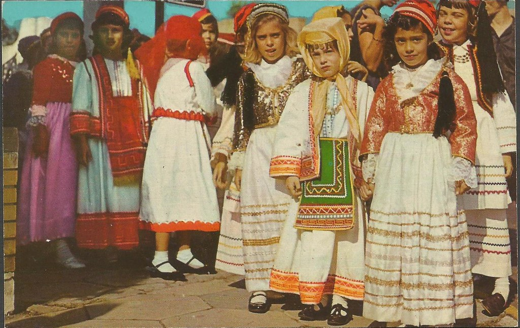 Girls in Native Greek Costumes at Epiphany Ceremony (a)