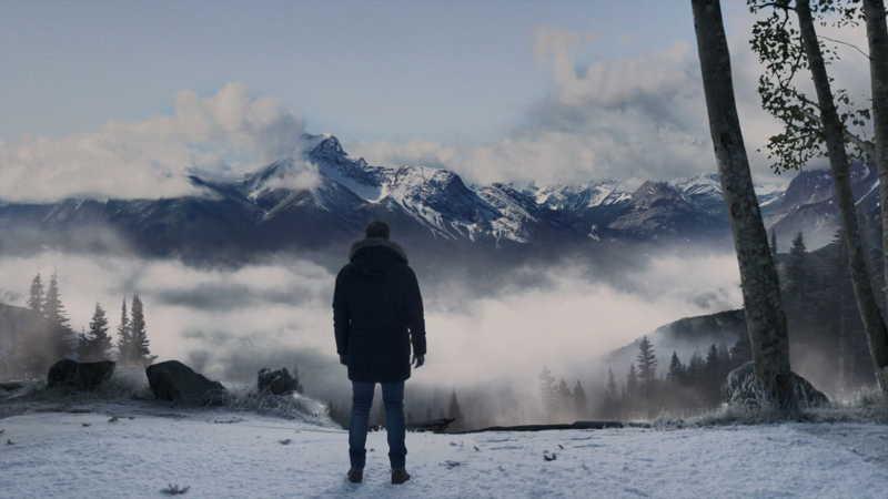 The snowed mountain location