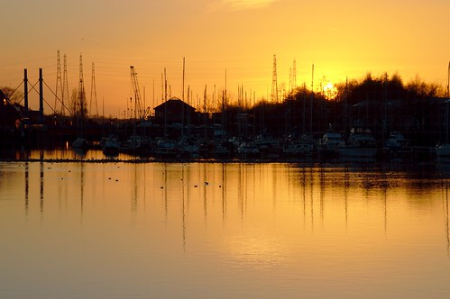 Lines at a Preston Docks Sunset | by Tony Worrall
