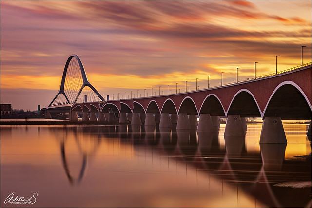 Sunset at the bridge, Nijmegen (explored)