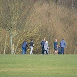 People on a path at Haslam Park, Preston