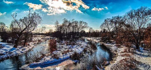 Blue sky river