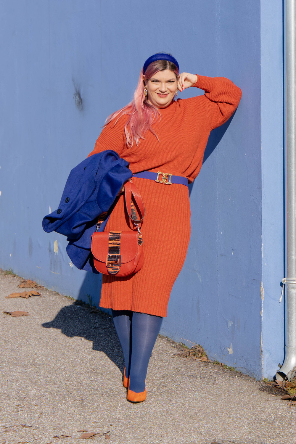 outfit curvy orange blue plus size curvy color challenge  (7)