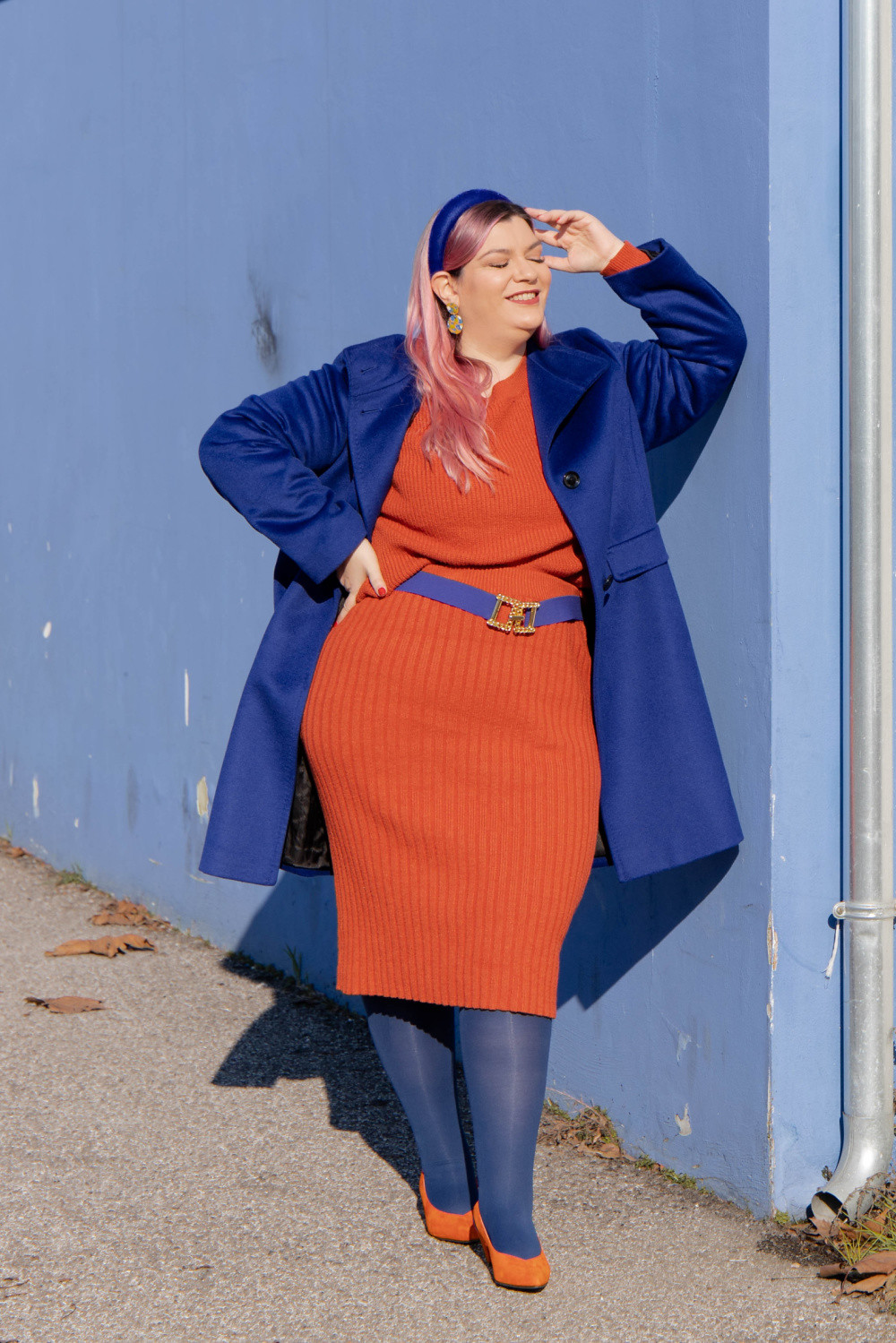 outfit curvy orange blue plus size curvy color challenge  (6)