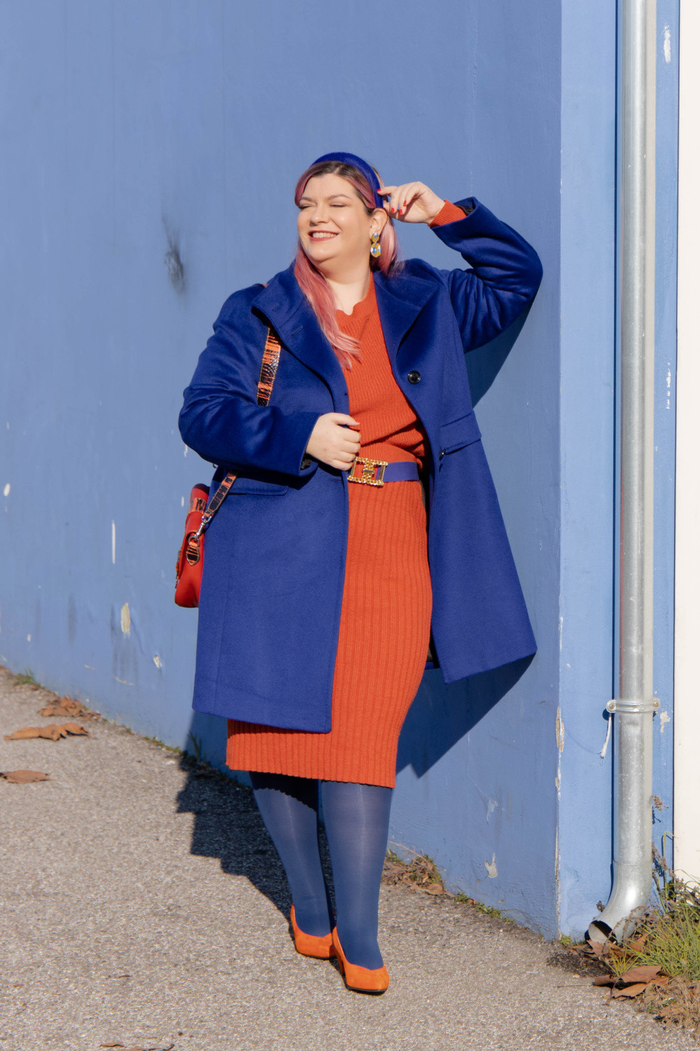 outfit curvy orange blue plus size curvy color challenge  (5)