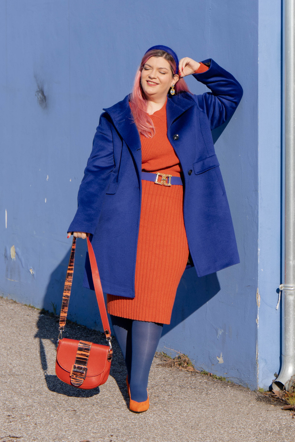 outfit curvy orange blue plus size curvy color challenge  (3)