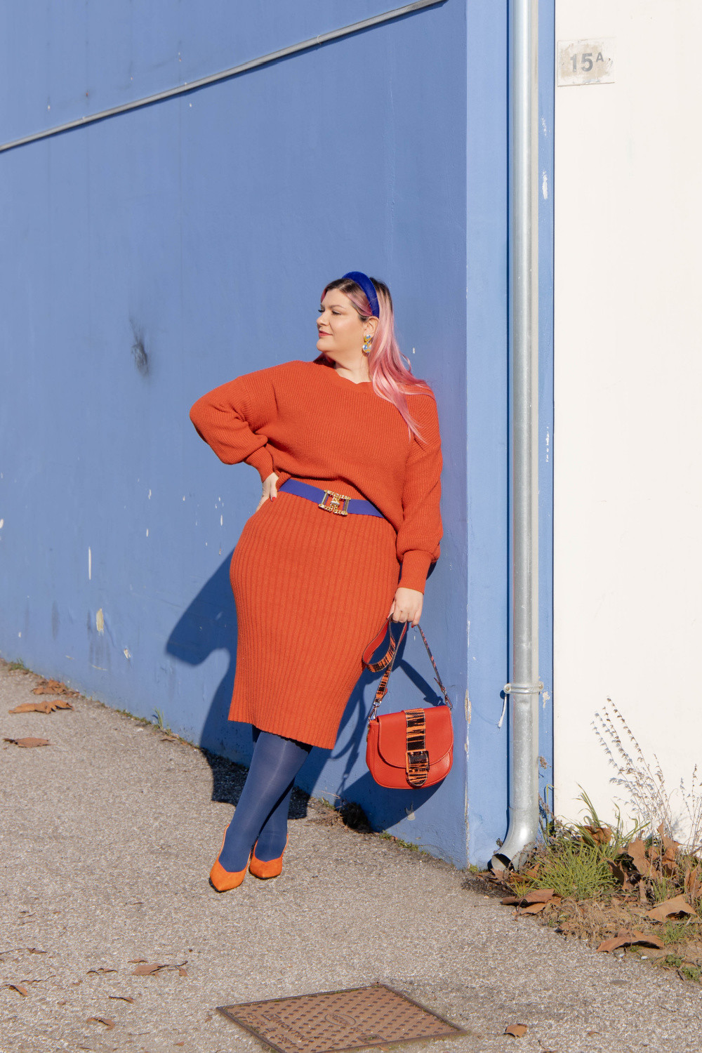 outfit curvy orange blue plus size curvy color challenge  (8)
