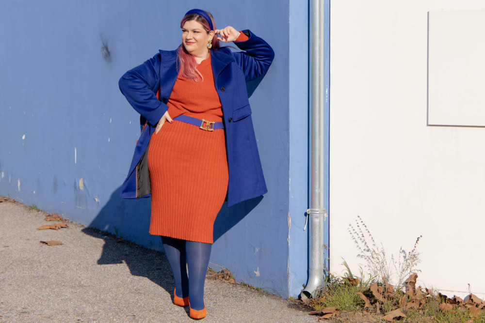 outfit curvy orange blue plus size curvy color challenge  (4)