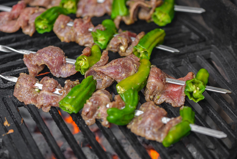 Miso-marinated Steak & Shishito Skewers