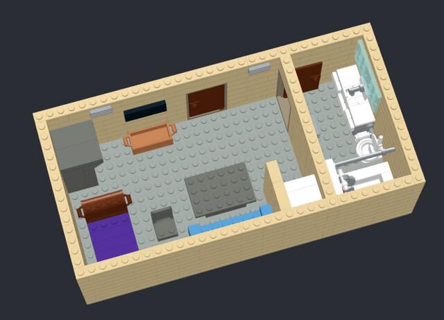 Dorm room facing the TV and door