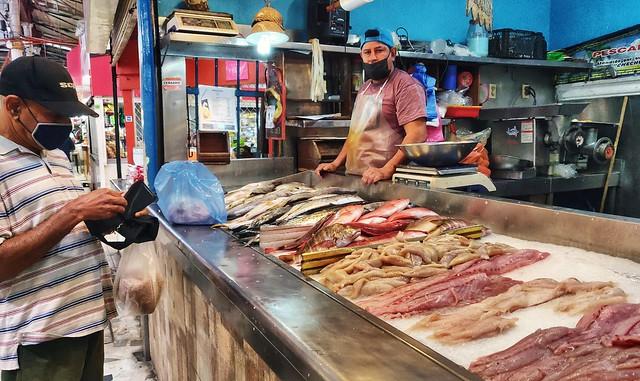 Jay Buying Fish in Mazatlan