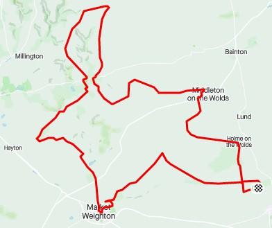 Strava Red Kite Bike Ride with Mkt Weighton diversion
