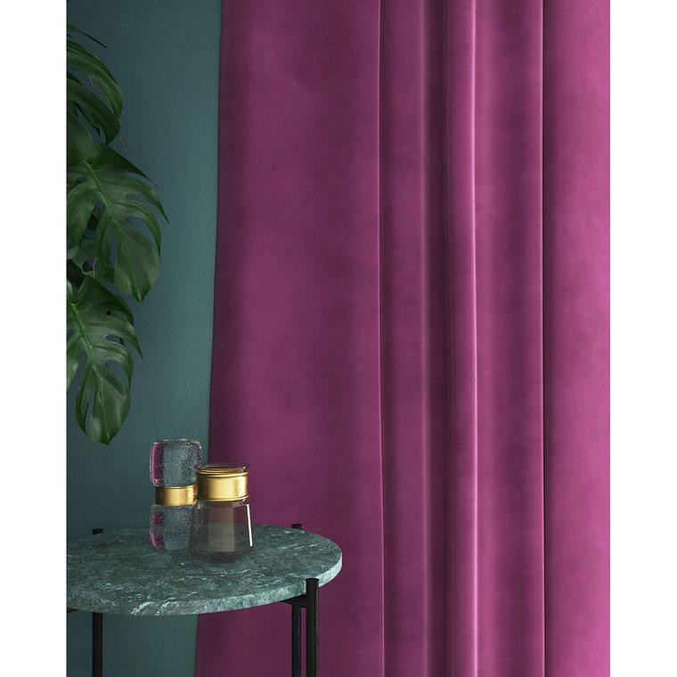 Set draperii din catifea cu rejansa din bumbac tip fagure, Madison, 200x210 cm, densitate 700 g/mp, Regal purple, 2 buc 2