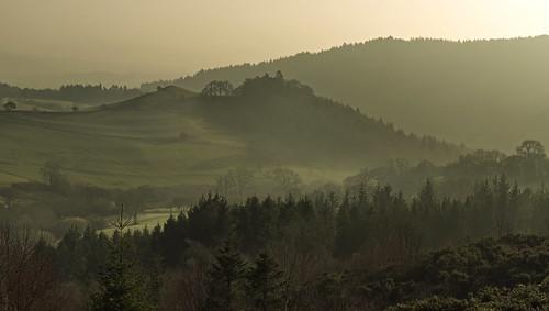 shropshire landscape sunset misty