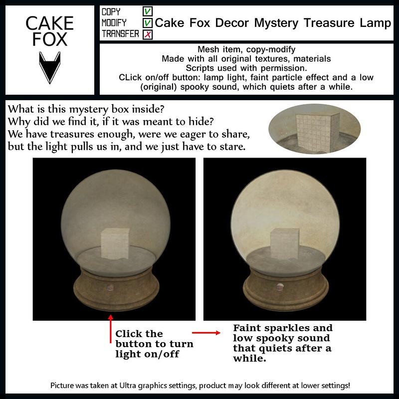 "Cake Fox Decor Mystery Treasure Lamp: Hunt Gift for the Mieville Steam Hunt XVI 2021.  <a href=""http://historicalhunts.blogspot.com/"" rel=""noreferrer nofollow"">Hunt website</a> <a href=""https://pieni.art/cake-fox-decor-steam-hunt/"" rel=""noreferrer nofollow"">My blog post</a>"