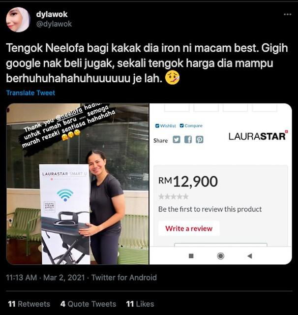 Neelofa Hadiahkan Seterika Laurastar Yang Canggih Untuk Nabila, Netizen Dedah Harga Rm12,900