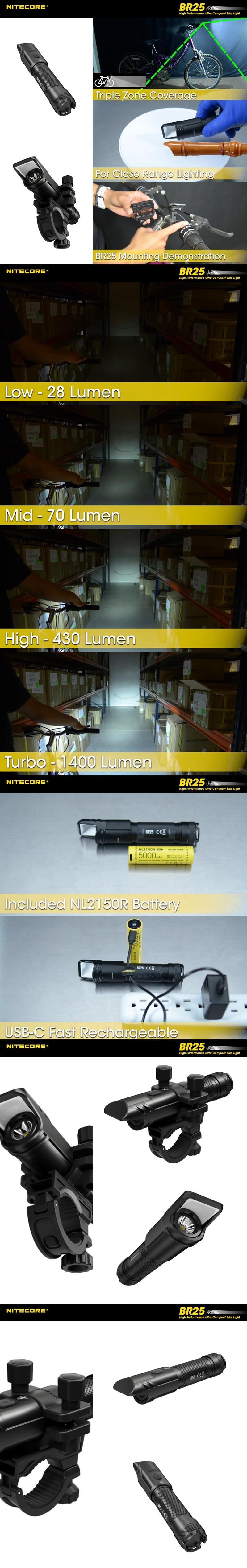 3 NITECORE BR25 自行車燈 1400流明 漫反射設計 防眩目 近、中、遠三光 76克 快拆 (1)