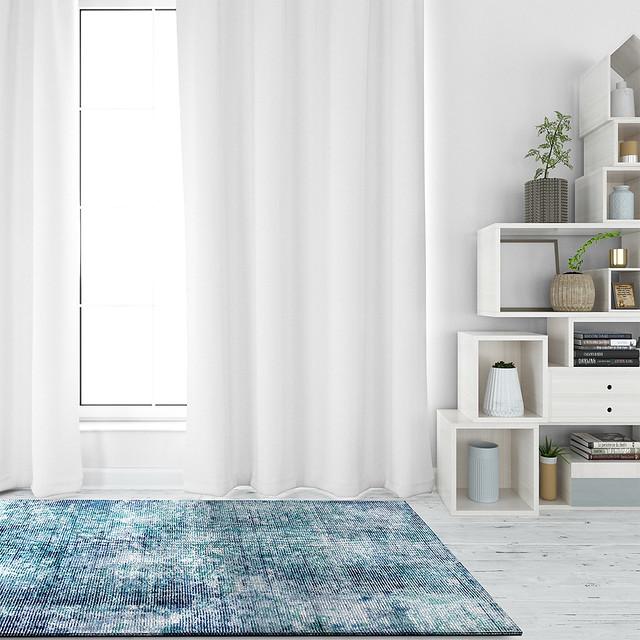 Silky Contemporary Print Shah Akron Aqua Blue Area Rug Carpet