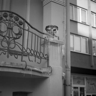 Ice waterfall on Art Nouveau balcony | by Bohdan Bobrowski