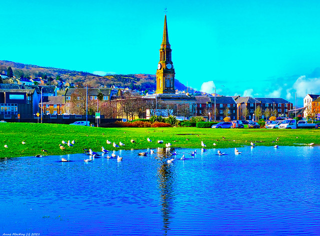 Scotland Port Glasgow townhall clock from Coronation Park 22 February 2021 by Anne MacKay