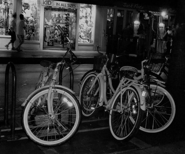 Key West, Florida -  Street Scene - Night - B&W