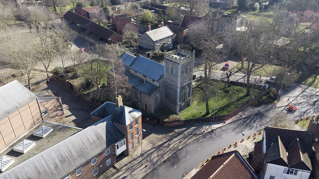 Norwich aerial image - St Martin at Palace Church