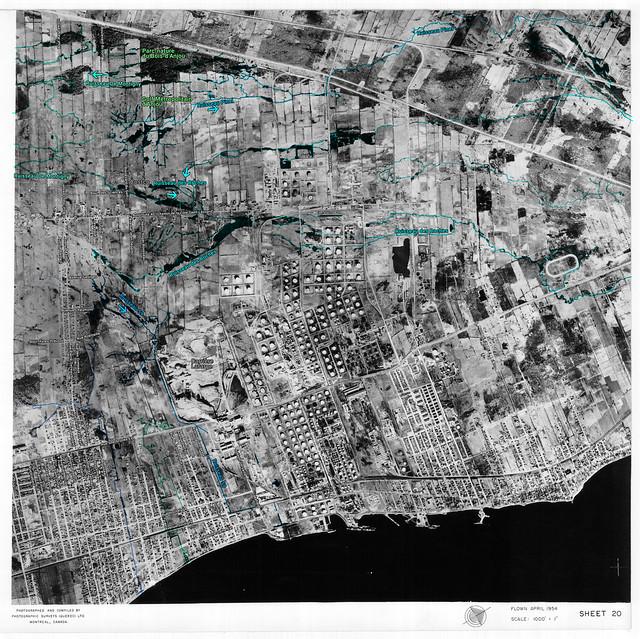 Avril 1954 : les ruisseaux d'Anjou, Tétreaultville et Montréal-Est (avec indications)