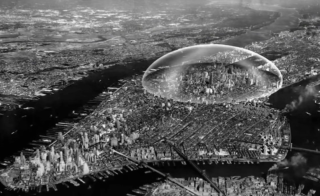 An alien invasion? An atomic bomb? A mutant jellyfish? NO! It's a geodesic dome that inventor Buckminster Fuller planned to cover Midtown Manhattan with. The idea was to keep smog and snow out. Needless to say, this was never built. New York. 1960