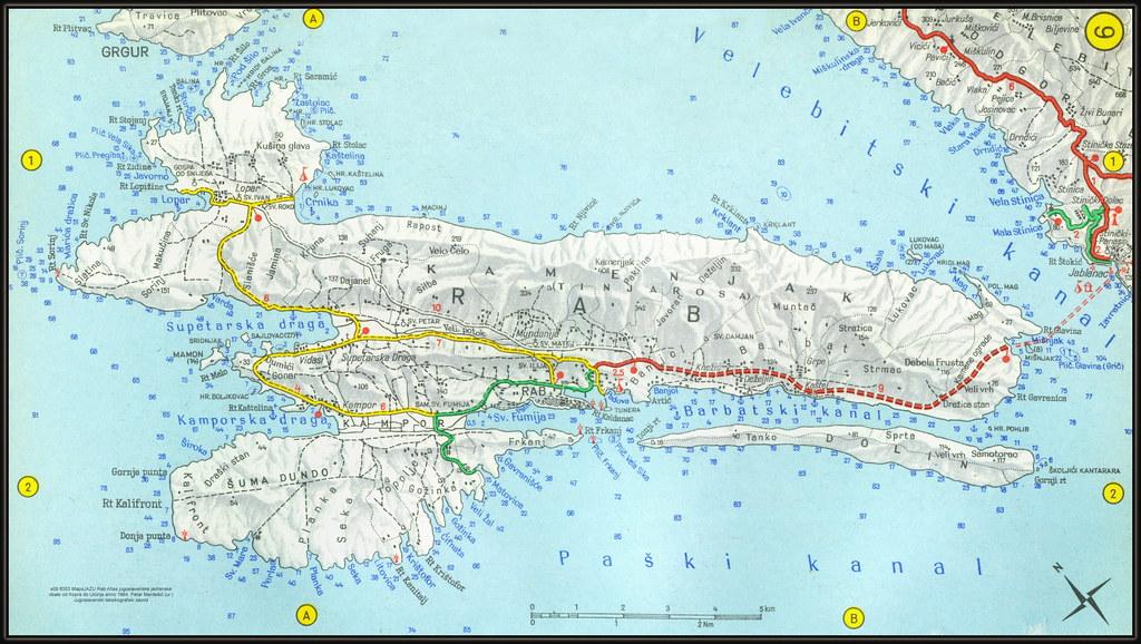 s09 8353 MapsJAZU Rab Atlas jugoslavenske jadranske obale od Kopra do Ulcinja anno 1964. Petar Mardešić (ur.) Jugoslavenski leksikografski zavod